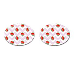 Watermelon Chevron Cufflinks (Oval)