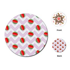 Watermelon Chevron Playing Cards (Round)