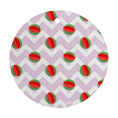 Watermelon Chevron Round Ornament (Two Sides)