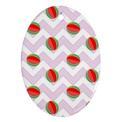 Watermelon Chevron Oval Ornament (two Sides) by snowwhitegirl