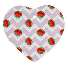 Watermelon Chevron Heart Ornament (Two Sides)
