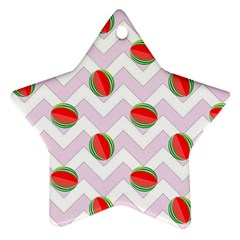 Watermelon Chevron Star Ornament (Two Sides)