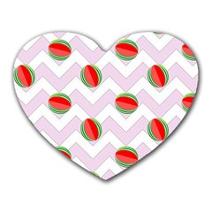 Watermelon Chevron Heart Mousepads by snowwhitegirl
