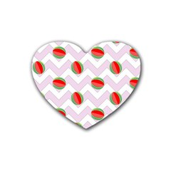 Watermelon Chevron Heart Coaster (4 pack)