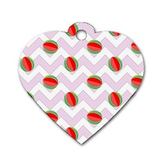 Watermelon Chevron Dog Tag Heart (One Side)