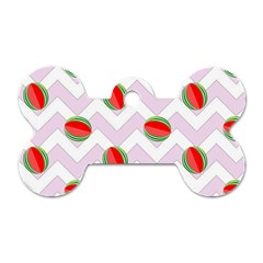 Watermelon Chevron Dog Tag Bone (Two Sides)