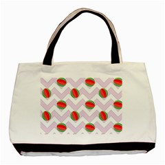 Watermelon Chevron Basic Tote Bag (Two Sides)