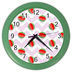 Watermelon Chevron Color Wall Clock