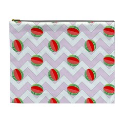 Watermelon Chevron Cosmetic Bag (XL)