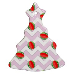 Watermelon Chevron Christmas Tree Ornament (Two Sides)