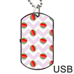 Watermelon Chevron Dog Tag USB Flash (One Side)