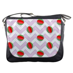 Watermelon Chevron Messenger Bag