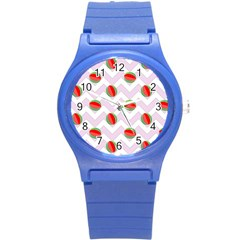 Watermelon Chevron Round Plastic Sport Watch (S)