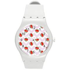 Watermelon Chevron Round Plastic Sport Watch (M)