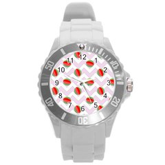Watermelon Chevron Round Plastic Sport Watch (L)