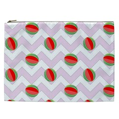 Watermelon Chevron Cosmetic Bag (XXL)