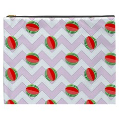 Watermelon Chevron Cosmetic Bag (XXXL)