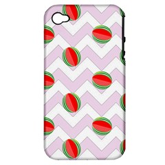 Watermelon Chevron Apple iPhone 4/4S Hardshell Case (PC+Silicone)