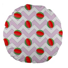 Watermelon Chevron Large 18  Premium Round Cushions