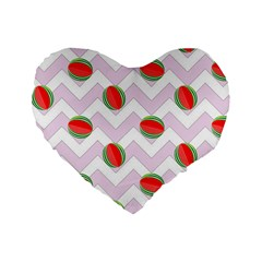 Watermelon Chevron Standard 16  Premium Heart Shape Cushions