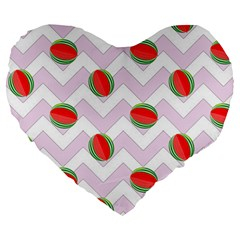 Watermelon Chevron Large 19  Premium Heart Shape Cushions