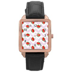 Watermelon Chevron Rose Gold Leather Watch