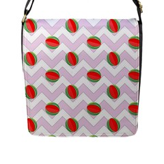 Watermelon Chevron Flap Closure Messenger Bag (L)