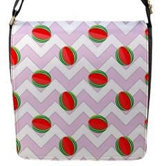Watermelon Chevron Flap Closure Messenger Bag (S)