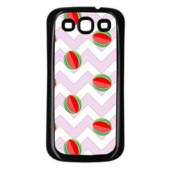 Watermelon Chevron Samsung Galaxy S3 Back Case (Black)