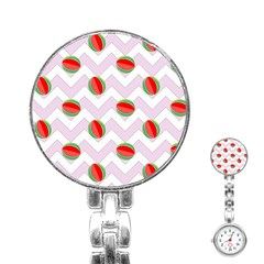 Watermelon Chevron Stainless Steel Nurses Watch