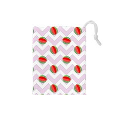 Watermelon Chevron Drawstring Pouch (Small)