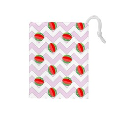 Watermelon Chevron Drawstring Pouch (Medium)