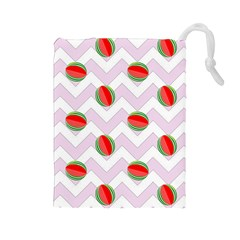Watermelon Chevron Drawstring Pouch (Large)