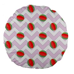Watermelon Chevron Large 18  Premium Flano Round Cushions
