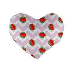 Watermelon Chevron Standard 16  Premium Flano Heart Shape Cushions
