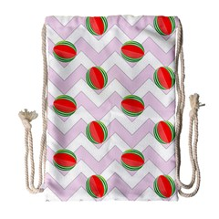 Watermelon Chevron Drawstring Bag (Large)