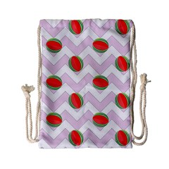 Watermelon Chevron Drawstring Bag (Small)