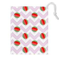 Watermelon Chevron Drawstring Pouch (XXL)