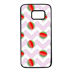 Watermelon Chevron Samsung Galaxy S7 Black Seamless Case