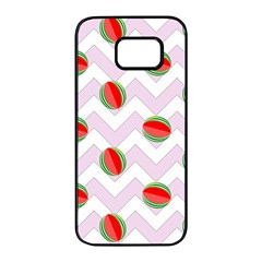 Watermelon Chevron Samsung Galaxy S7 edge Black Seamless Case