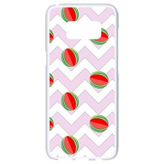 Watermelon Chevron Samsung Galaxy S8 White Seamless Case