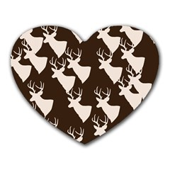 Brown Deer Pattern Heart Mousepads by snowwhitegirl