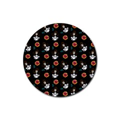 Girl With Dress Black Rubber Round Coaster (4 Pack)