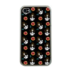 Girl With Dress Black Apple Iphone 4 Case (clear) by snowwhitegirl