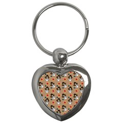 Girl With Dress Beige Key Chains (heart)  by snowwhitegirl