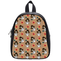 Girl With Dress Beige School Bag (small)