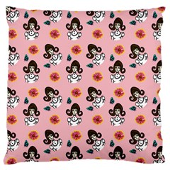 Girl With Dress  Pink Large Cushion Case (two Sides) by snowwhitegirl