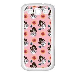 Girl With Dress  Pink Samsung Galaxy S3 Back Case (white)