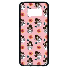Girl With Dress  Pink Samsung Galaxy S8 Black Seamless Case by snowwhitegirl