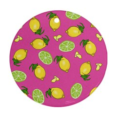 Lemons And Limes Pink Round Ornament (two Sides)